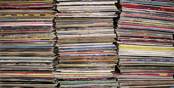 Stacks of Vinyl Records